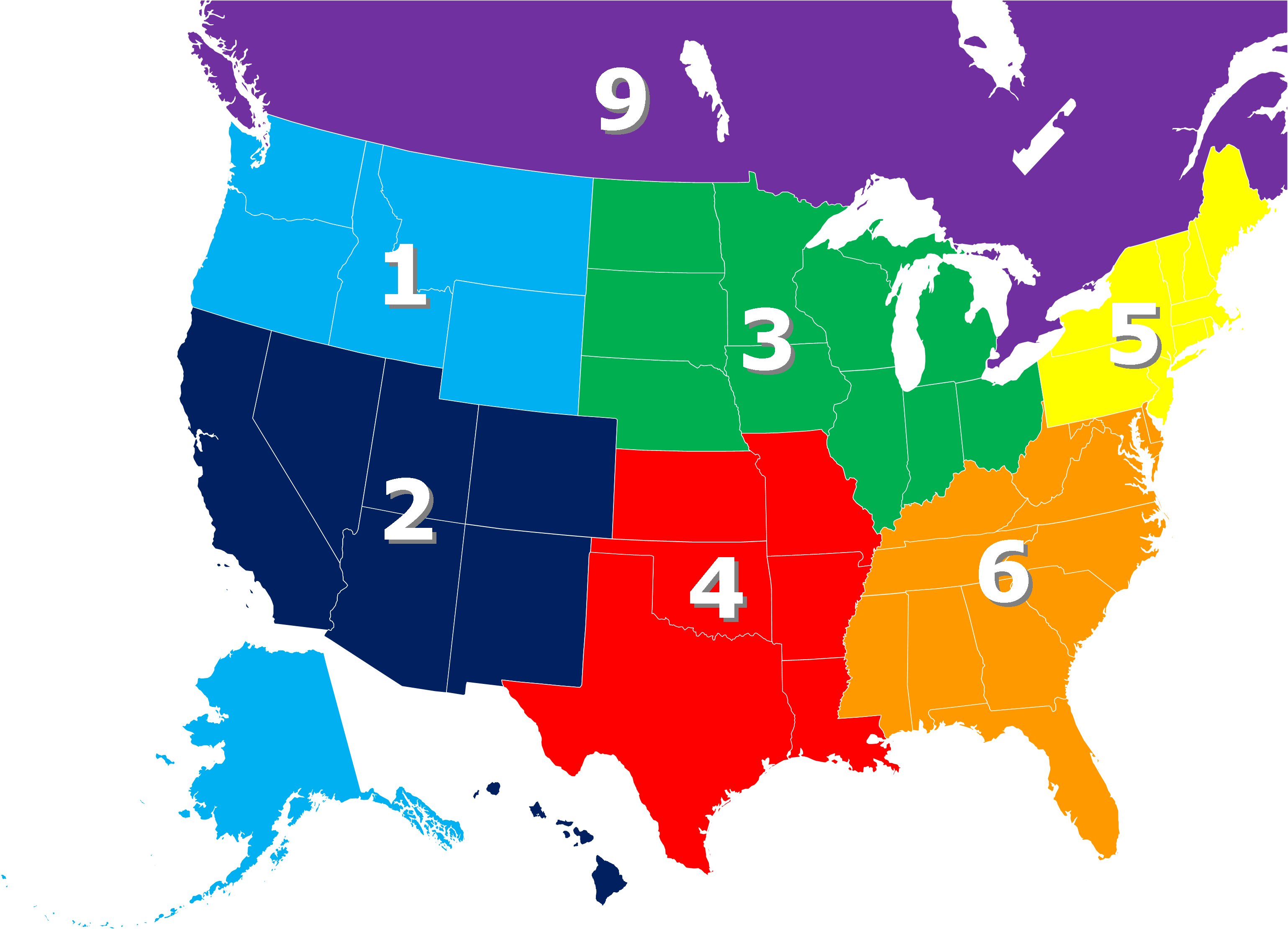 Regions Map ACUIAorg - Us map divided into 4 regions